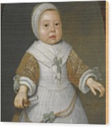 Portrait Of A One-year-old Girl Of The Van Der Burch Family Three-quarter Length Wood Print