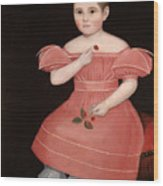 Portrait Of A Rosy Cheeked Young Girl In A Pink Dress Wood Print