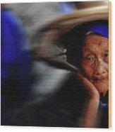 Portrait Of A Senior Lady In Yun Nan, China Wood Print