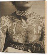 Portrait Of A Tattooed Woman Wood Print