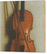Portrait Of A Violin Wood Print