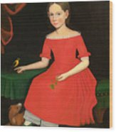 Portrait Of A Winsome Young Girl In Red With Green Slippers Dog And Bird Wood Print