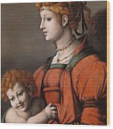 Portrait Of A Woman And Child - Allegory Of Liberality Wood Print