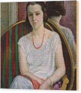 Portrait Of A Woman Wood Print by Henri Lebasque