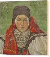 Portrait Of A Woman In A Red Scarf Wood Print