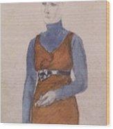 Portrait Of A Woman Late Xix - Early Xx Century Kuzma Sergeevich Petrov-vodkin Wood Print