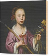 Portrait Of A Young Girl As A Shepherdess Holding A Sprig Of Flowers Wood Print