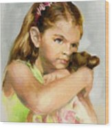 Portrait Of A Young Girl With Toy Bear Wood Print