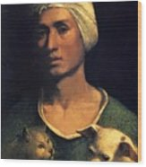 Portrait Of A Young Man With A Dog And A Cat Wood Print