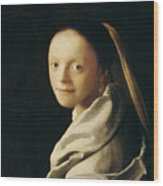 Portrait Of A Young Woman Wood Print by Jan Vermeer