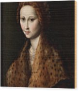 Portrait Of A Young Woman Wearing A Robe With A Fur Collar Wood Print