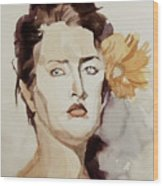 Portrait Of A Young Woman With Flower Wood Print