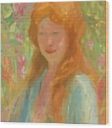 Portrait Of A Young Women In Garden 1912 Wood Print