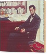 Portrait Of Abraham Lincoln Wood Print
