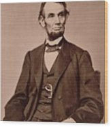 Portrait Of Abraham Lincoln Wood Print by Mathew Brady