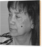 Portrait Of An Attractive Filipina Woman With A Mole On Her Cheek Wood Print