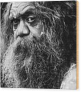 Portrait of an Australian aborigine Wood Print