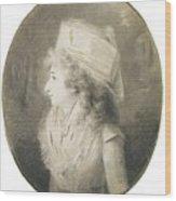 Portrait Of An Elegant Lady In Profile, Wearing A Hat Wood Print