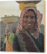 Portrait Of An Indian Lady Wood Print