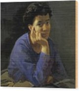 Portrait Of An Unknown Woman In A Blue Blouse Wood Print