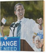 Portrait Of Barack Obama The Change We Need Wood Print by Christopher Oakley