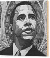 Portrait Of Barak Obama Wood Print