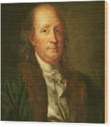 Portrait Of Benjamin Franklin Wood Print