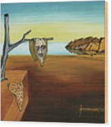 Portrait Of Dali The Persistence Of Memory Wood Print