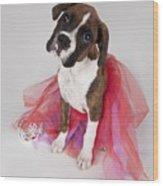 Portrait Of Dog Wearing Tutu Wood Print