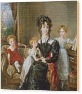Portrait Of Elizabeth Lea And Her Children Wood Print