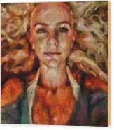 Portrait Of Female With Hair Billowing Everywhere In Radiant Unsmiling Sharp Features Golden Warm Colors And Upturned Nose Curls And Aliens Of The Departure Wood Print