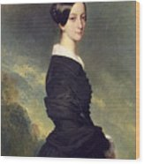 Portrait Of Francisca Caroline De Braganca Wood Print by Franz Xaver Winterhalter