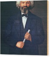 Portrait Of Frederick Douglass Wood Print