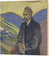 Portrait Of Friedrich Nietzsche Wood Print