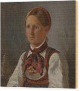 Portrait Of Gunild Olsdatter From Tinn Wood Print