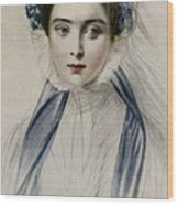 Portrait Of Her Majesty Queen Victoria As A Young Woman By Emile Desmaisons Wood Print