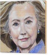 Pastel Portrait Of Hillary Clinton Wood Print