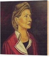 Portrait Of Hillary Clinton Wood Print by Ricardo Santos-alfonso