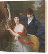 Portrait Of Jean-louis Gustave D'hautefort And His Sister Marie-therese-thais D'hautefort Wood Print