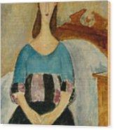 Portrait Of Jeanne Hebuterne Wood Print by Amedeo Modigliani