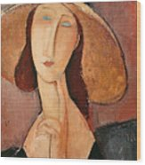 Portrait Of Jeanne Hebuterne In A Large Hat Wood Print by Amedeo Modigliani