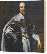 Portrait Of King Charles I After Van Dyck Wood Print