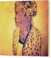 Portrait Of Lovely African Woman Wood Print