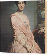 Portrait Of Madame F Wood Print by Edouard Louis Dubufe