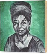 Portrait Of Maya Angelou Wood Print