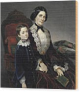 Portrait Of Mother And Son Wood Print