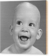 Portrait Of Nearly Bald Baby, C.1960s Wood Print