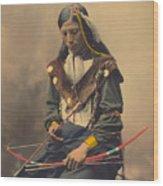 Portrait Of Oglala Sioux Council Chief Bone Necklace Wood Print