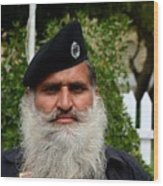 Portrait Of Pakistani Security Guard With Flowing White Beard Karachi Pakistan Wood Print