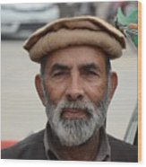 Portrait Of Pathan Tuk Tuk Rickshaw Driver Peshawar Pakistan Wood Print